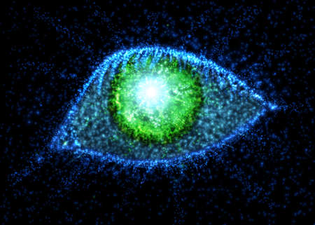 Abstract eye from light particles. Vector illustration.