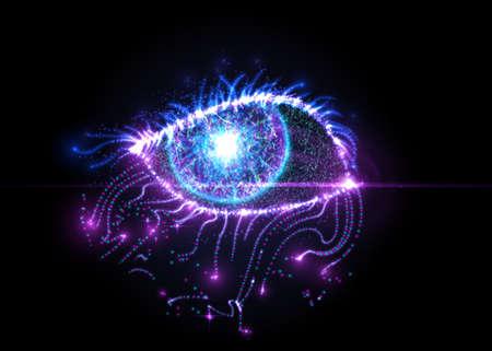 光の粒子から抽象的な目は。ベクトルの図。