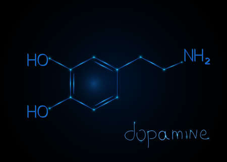 Hormone Dopamine , molecular formula. Chemical abstract background. Vector illustration.