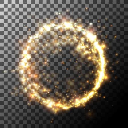 Dust particles circle, light effect. Vector element.