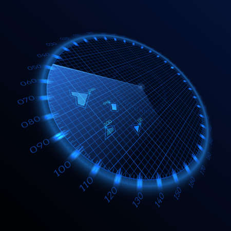 Radar round screen in perspective, on black background. Vector illustration. Иллюстрация