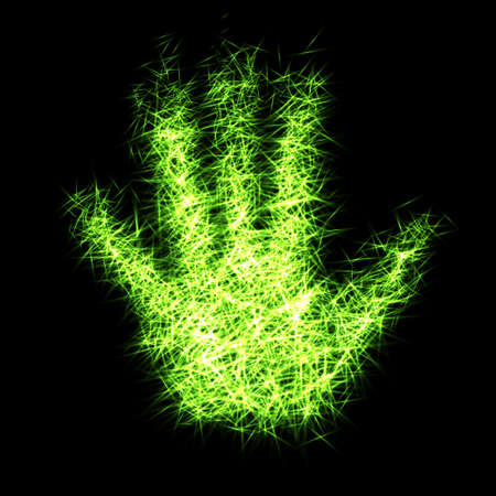 Abstract hand from light particles, 3D arm. Vector illustration.