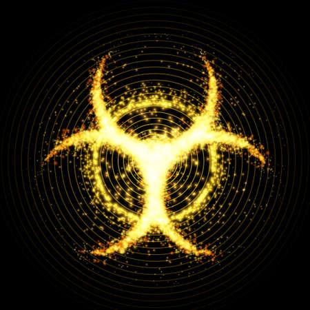 Biohazard warning, abstract background. Vector illustration. Иллюстрация