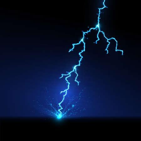 雷が地面に激突。ベクトル図  イラスト・ベクター素材