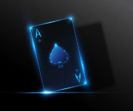 Ace card, poker casino illustration. Vector graphic.