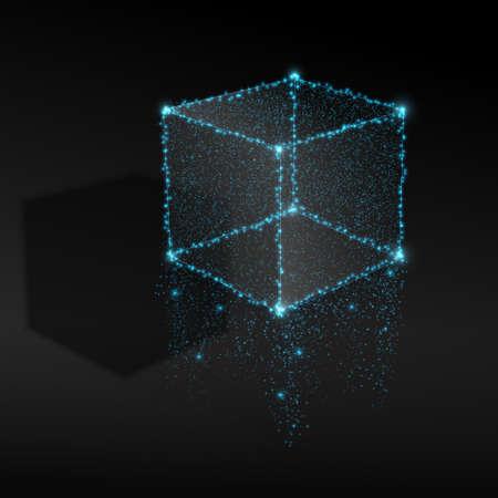 ライトから抽象的なキューブ。ベクトルの図。