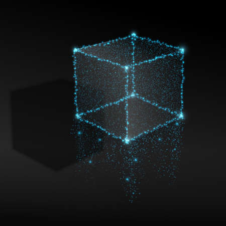Abstract cube from lights. Vector illustration.