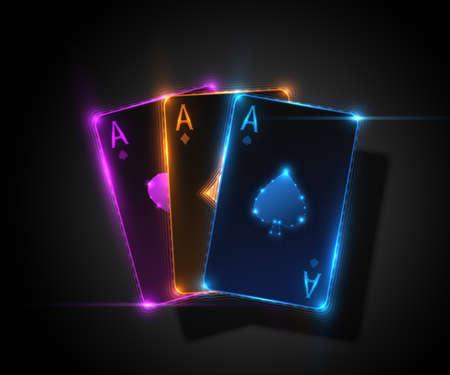 3 つのエースのカード、火かき棒のカジノの図。ベクター グラフィック