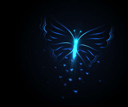 Butterfly from light particles. Vector illustration