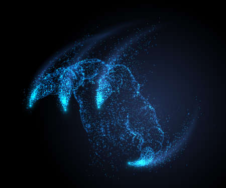 Dragon monster claw, attack Vector illustration