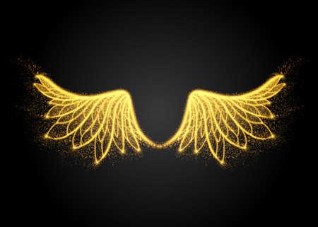 抽象的な黄色の翼、ライトから。ベクトル図  イラスト・ベクター素材