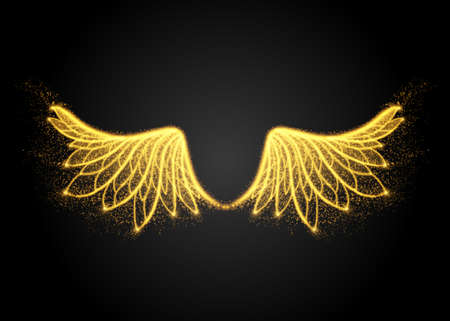 Abstract yellow wings, from lights. Vector illustration