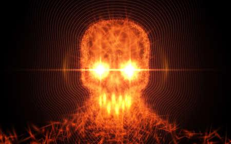 火、暗い背景に光の粒子から抽象的な頭蓋骨。ベクトル図