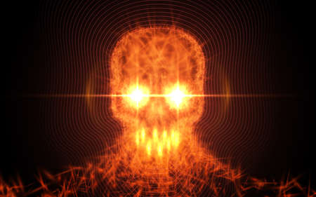 Abstract skull from fire, light particles on dark background. Vector illustration