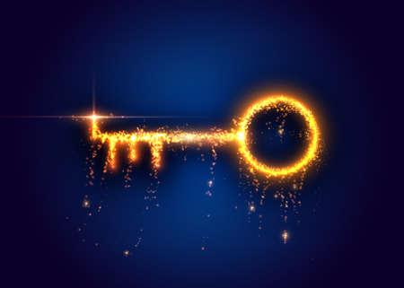 Golden key, from light particles. Vector illustration