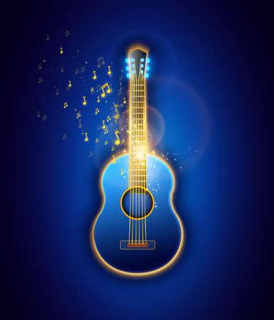 クラシック ギター、抽象的なイラスト ベクター グラフィック