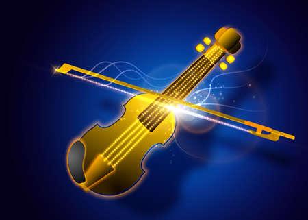 魔法のヴァイオリンの図を抽象化します。音楽のベクトルの背景