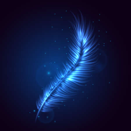 Abstract blue feather. Vector illustration Иллюстрация