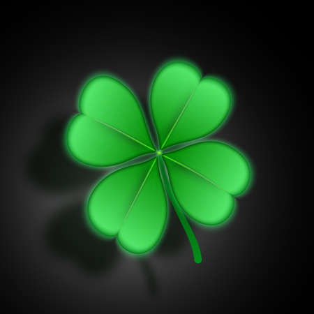 Realistic clover, glowing with shadow. Vector illustration