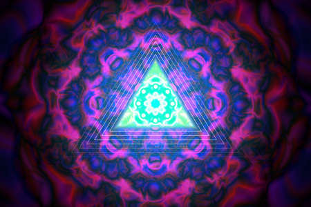Triangle on abstract ornament. Vector illustration Иллюстрация