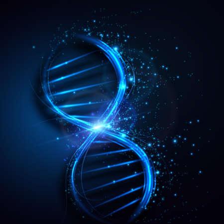 抽象的な DNA 分子、サイエンスの背景。ベクター グラフィック