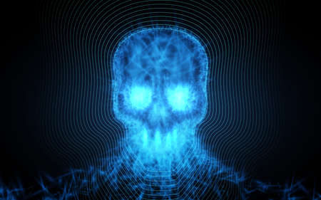 暗い背景に光の粒子から抽象的な頭蓋骨。ベクトル図