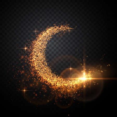 抽象的な月のベクター イラストです。光の粒子組成物。  イラスト・ベクター素材
