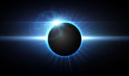 Vector eclipse in space, cosmic background. Иллюстрация
