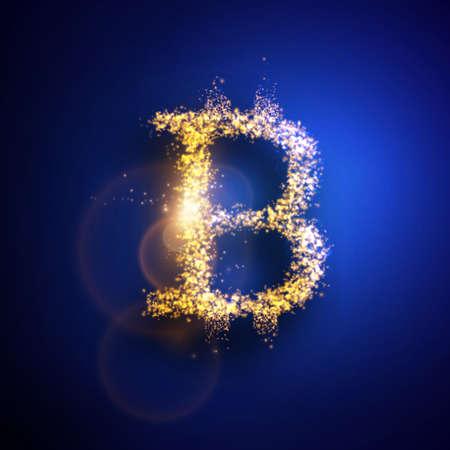 Bitcoin のベクター イラストです。光の粒子組成物。  イラスト・ベクター素材