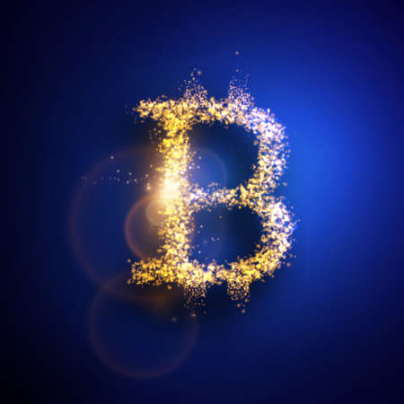 Vector illustration of Bitcoin. Light particles composition.