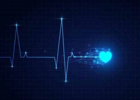 青い心電図、医療パターンのベクトル イラスト。