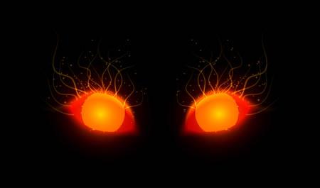 Vector Illustration of red monster eyes, glowing in dark.