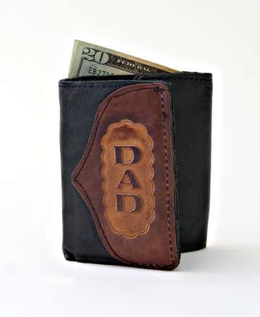 Dads wallet with a twenty dollar bill Banco de Imagens