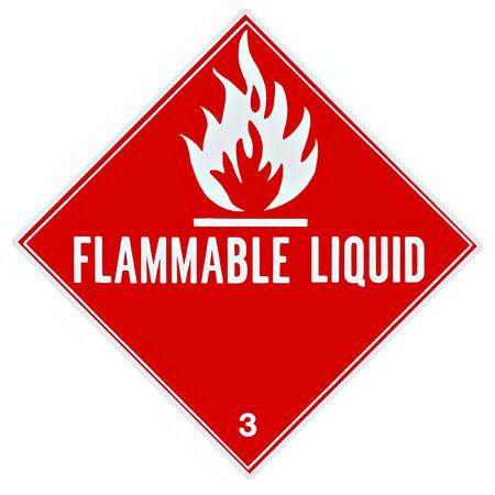 Cartel o señal para advertir de un líquido inflamable  Foto de archivo
