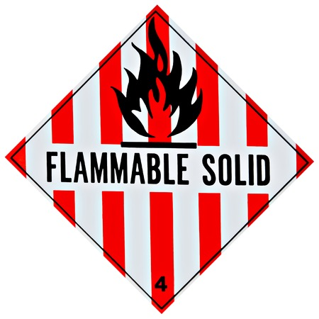 flammable: Placard or sign warning of a flammable solid Stock Photo