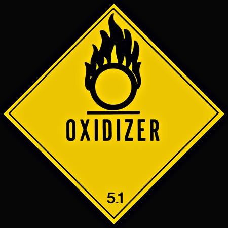 Placard or sign warning of an oxidizing chemical Stock Photo - 1489539