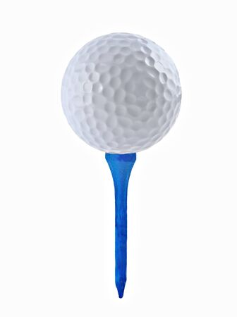 Golf ball and tee on a white background