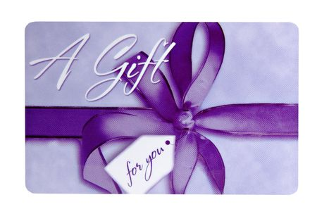 Purple gift card isolated on a white background