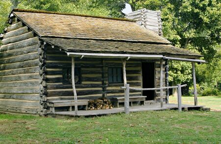 cabin: Log cabin in new salem illinois state historic site
