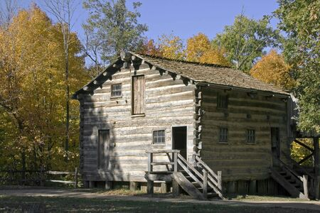 Replica of a carding mill and wool house located in new salem village illinois
