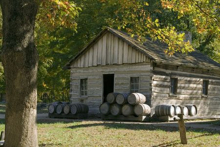 Original cooper shop (makes wooden barrels) located in new salem village, illinois photo