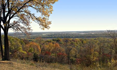 Overlook of the illinois river valley from pere marquette state park Stock Photo