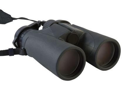 白い背景に分離された黒の双眼鏡