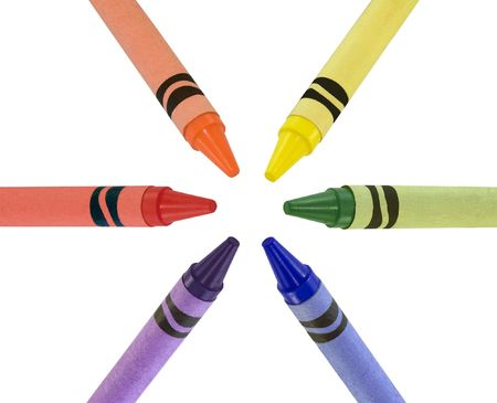 Primary and secondary color crayons arranged in a circle Stock Photo - 2680316
