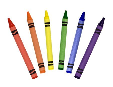 Primary and secondary colored crayons isolated on a white background Banco de Imagens