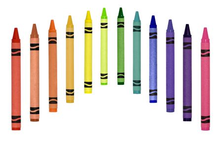 Primary secondary tertiary colored crayons isolated on a white background