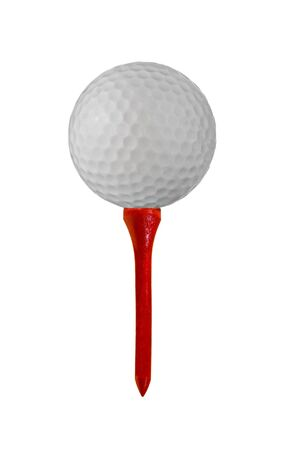 tee: Golf ball on a tee isolated on white