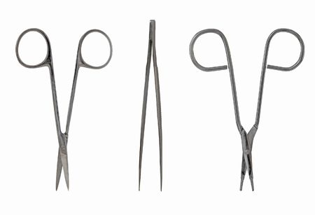 medical scissors and tweezers isolated on white background stock