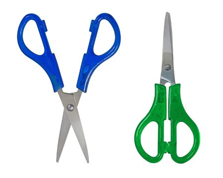 Two childrens scissors isolated on a white background