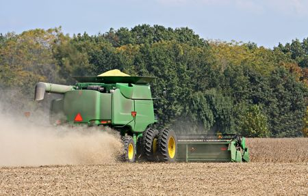 Harvesting soybeans with a combine on an autumn day